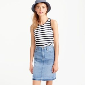 J.Crew Faux-leather scalloped trim w/ Stripe tank